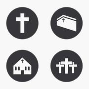 Vector modern religion icons set - stock illustration