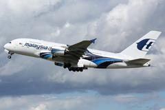 Malaysia Airlines Airbus A380 airplane - stock photo