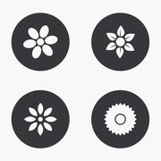 Vector modern flower icons set Stock Illustration