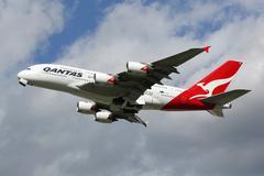 Qantas Airbus A380 airplane Stock Photos
