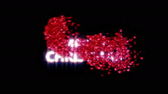 A swarm of hearts cover a Merry Christmas sign - stock footage