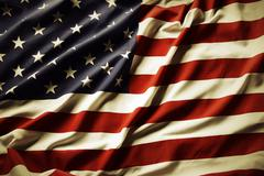 Closeup of rippled American flag - stock photo