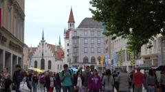 4K Famous Marienplatz crowded public square Munich old town tourist people visit Stock Footage