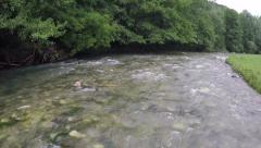 Low flight just over the river stream. Stock Footage