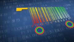 Shopping carts made from barcode. concept of shopping. Shopping basket Stock Footage