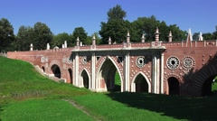 Stock Video Footage of The Great Bridge over the ravine (in 4k), Tsaritsyno park, Moscow, Russia.