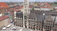 4K Aerial view Marys Square panorama New Town Hall Munich skyline landmark day   Stock Footage