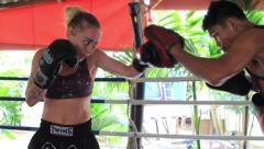 Female Fighter Boxing Training Hitting Pads Muay Thai Outdoor Gym Punching Stock Footage