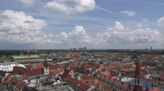 4K Munich panorama blue sky red rooftop residential area suburban district icon  Stock Footage