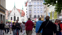 4K Timelapse tourist pedestrian people relax walk Marys Square Munich city icon Stock Footage