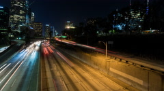 Downtown Los Angeles Freeway Timelapse (With Panning) Stock Footage