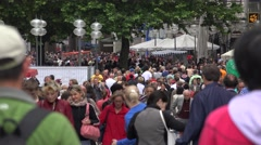 4K Tourism attraction Munich commercial road crowded people enjoy shopping day   Stock Footage