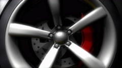 Car wheel, close up, running, spinning. Stock Footage