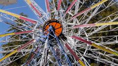 Close up of spiinning wonder wheel in amusement park Stock Footage