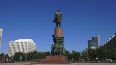 Statue of Lenin (in 4k) Kaluzhskaya Square, Moscow, Russia. Stock Footage