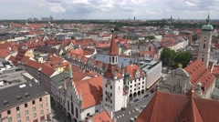 4K Aerial view Munich crowded downtown traditional architecture red rooftop day  Stock Footage