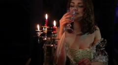 Beautiful woman in medieval dress Stock Footage