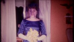 2576 - nervous bride with bouquet on her wedding day - vintage film home movie Stock Footage