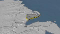 Carrickfergus - county of Northern Ireland (UK) extruded. Set of animations Stock Footage