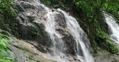 Fresh and clean waterfall from rainforest mountain Stock Footage