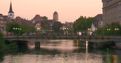 Strasbourg is the capital and principal city of the Alsace region in France - stock footage