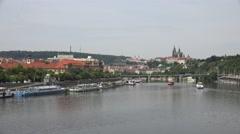4K UNESCO monument famous Castle church tower Prague travel destination day icon Stock Footage