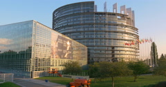 The European Union Parliament EU EP building in Strasbourg France Europe Euro 4K Arkistovideo