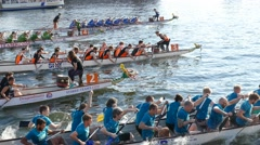 4K Racing Dragon Boats Canoe on River Spree Berlin,Germany Stock Footage
