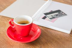 Coffee break on business work table - stock photo