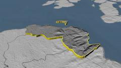 Moyle - county of Northern Ireland (UK) extruded. Bumps Stock Footage