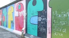 4k Berlin Wall colorful graffiti 3 - stock footage