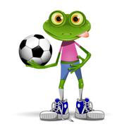 Frog soccer player Stock Illustration