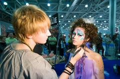 Makeup and hair artists competition Stock Photos