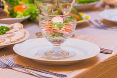 Served table for banquet food meal dish plate restaurant Stock Photos