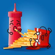 ketchup and crying cartoon on fried potatoes box - stock illustration