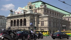 4K Court House building bustling car traffic Vienna capital center people travel - stock footage