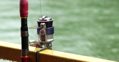 Fishing rod and meter close up Stock Footage