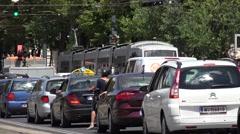 4K Bustling traffic car street Vienna city center vehicle transportation busy  - stock footage
