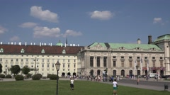 4K Pan right crowded Heroes Square Austrian Museum Ethnology Vienna building day Stock Footage