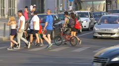 WCrossing the street near the The Polyvalent Hall, Cluj-Napoca Stock Footage
