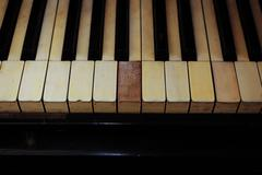 Closeup of black and white piano keys and wood grain with vintage sepia tone one - stock photo