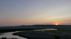 Sunrise scenery at Hulunbuir - stock footage