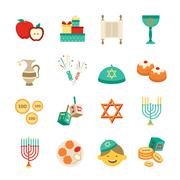 Symbols Of Hanukkah Icons Set - stock illustration