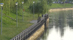 WFishing on the riverside in Cluj-Napoca Stock Footage