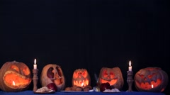 Two Little Witches Doing Magic Over Pumpkins At Halloween Stock Footage
