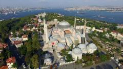Istanbul Landscape, Flying Around Hagia Sophia Mosque Stock Footage