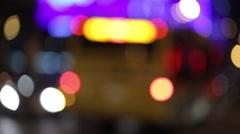 Moving bokeh circles of night traffic. Night city Stock Footage