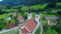 Church with two tops on a hill Stock Footage