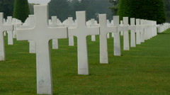 Lots of white crosses aligned on the cemetery - stock footage