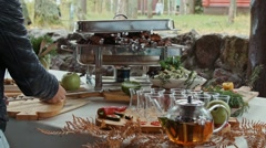 The table is set. Rich serving . Party in the open air . Stock Footage